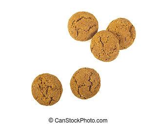 Five Pepernoten cookies seen from above - Pepernoten cookies...