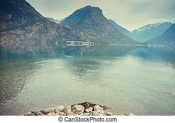 Mountains and lake in Norway, - Tourism vacation and travel...