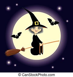 flying witch square format - Vector Halloween illustration...
