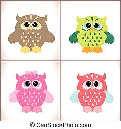Vector cute owls set