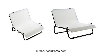 Set of Photo shooting table over isolated white background -...