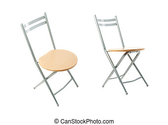 Set of Folding chair over isolated white background