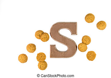 Dose of Pepernoten cookies with chocolate letter - Dose of...