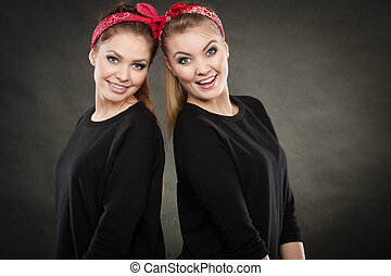 Loving sisters in retro pin up stylization - Love and...
