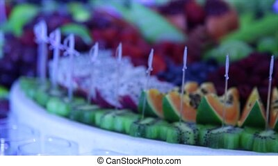 close up of a fresh fruits on a buffet.