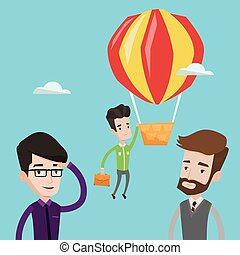 Businessman hanging on balloon vector illustration - Two...