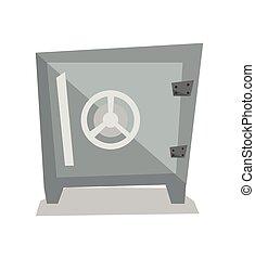 Steel bank safe vector illustration.