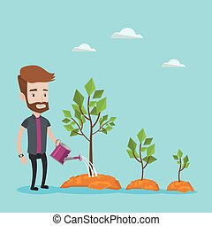 Businessman watering trees vector illustration. - A hipster...