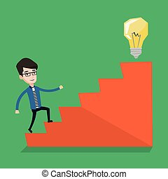 Businessman walking upstairs to the idea bulb. - Young...