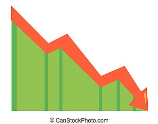Arrow pointing downwards vector illustration.