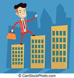 Businessman walking on the roofs of the buildings.