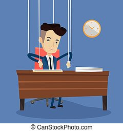 Businessman marionette on ropes working. - Caucasian...
