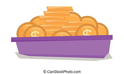 Golden coins in the bowl vector illustration.