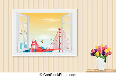 Opened wooden window and view - Vector illustration of...