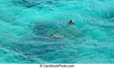 Snorkeling near Similans - Two people snorkeling in the...