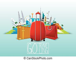 Famous monument with suitcase - Vector illustration of...