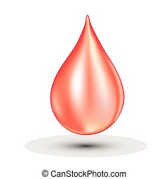 Blood drop. Clean isolated on white. Falling drop. - Vector...