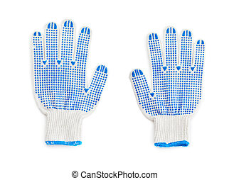 Set of Working glove over isolated white background - Set of...