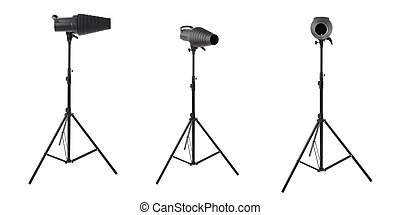 Set of Studio flash on a stand over isolated white...