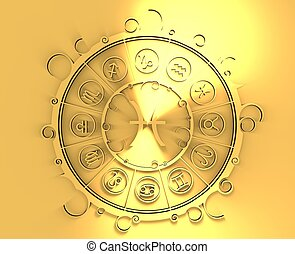 Astrology symbols in golden circle. The fish sign -...