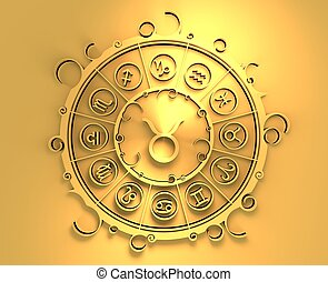 Astrology symbols in golden circle. The bull sign -...