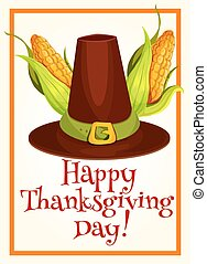 Thanksgiving poster with pilgrim hat and corn