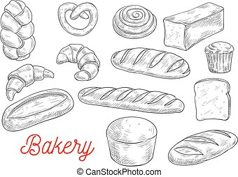 Sketched wheat bread and sweet buns