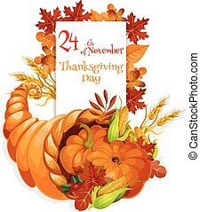 Thanksgiving Day greeting cornucopia design - Thanksgiving...