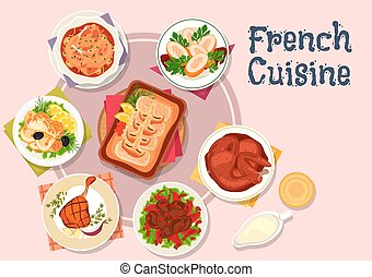 French cuisine dishes for restaurant menu design - French...