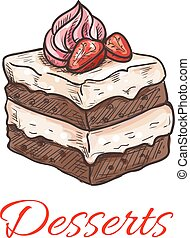 Chocolate cake with strawberry and cream sketch - Sketched...