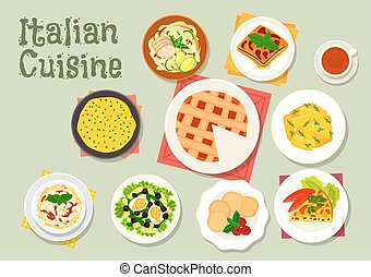 Italian cuisine pasta dishes with desserts icon