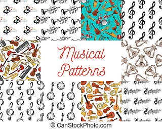 Musical instruments and notes seamless pattern set