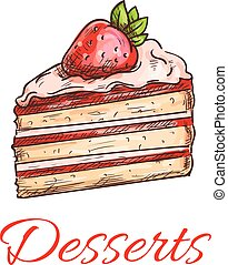 Strawberry cake sketch for pastry shop design - Strawberry...