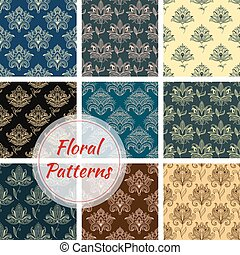 Paisley floral seamless patterns set with dainty flowers,...