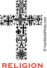 Cross with christian and celt religious symbols
