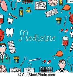 Medicine sketch background with medical symbols