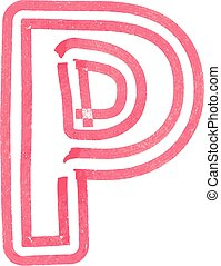 Capital letter P drawing with Red Marker