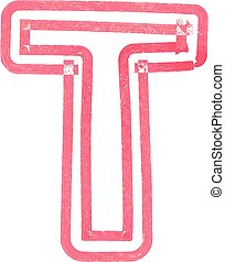 Capital letter T drawing with Red Marker