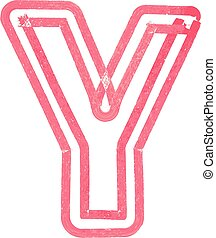 Capital letter Y drawing with Red Marker