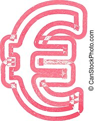 Abstract euro Symbol made with red marker vector...