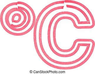 Abstract celcius Symbol made with red marker vector...