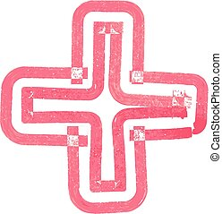 Abstract cross Symbol made with red marker vector...