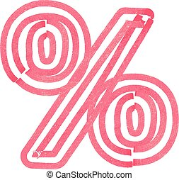 Abstract percent Symbol made with red marker