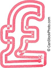 Abstract pound Symbol made with red marker vector...