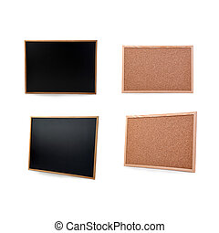 Black Chulk pin board over isolated white background - Black...