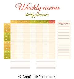 Weekly eating menu daily planner