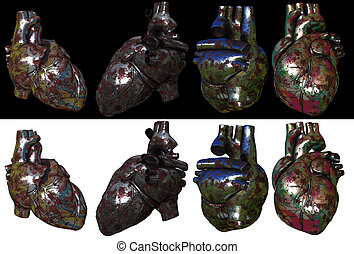 3d render ilustration of the metal heart