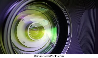 View of the glass elements in a camera lens. Objective under...