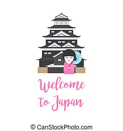 Japan castel and kokeshi doll - Welcome to Japan. Vector...