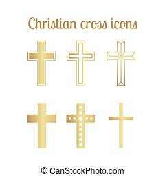 Golden christian cross icons isolated set. Vector...